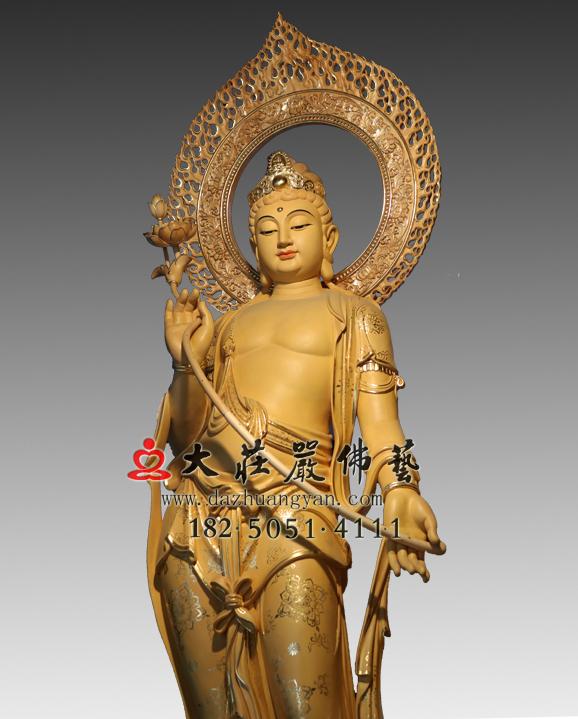 铜雕弥勒佛左胁待菩萨彩绘塑像