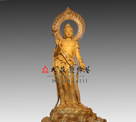 弥勒佛左胁待菩萨彩绘铜雕塑像
