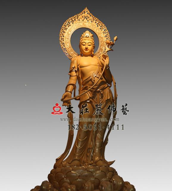 铜雕弥勒佛之右胁待菩萨彩绘塑像