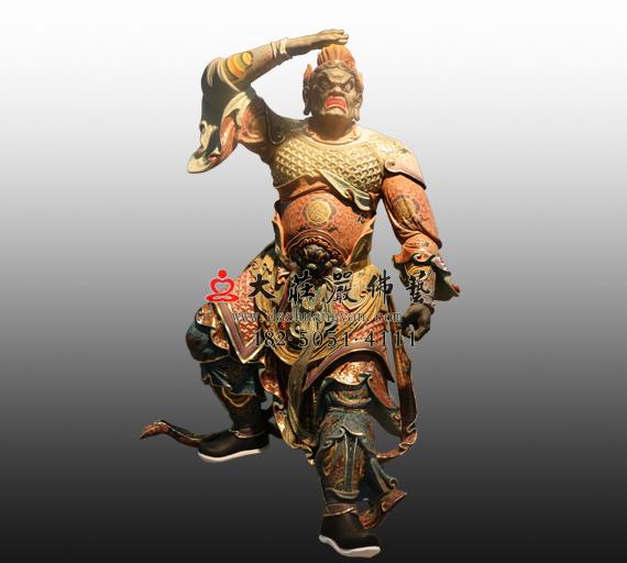 北方多闻天王八大神将之罗刹彩绘铜雕塑像
