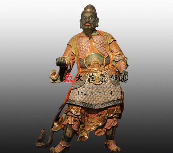 铜雕北方多闻天王八大神将之夜叉彩绘塑像