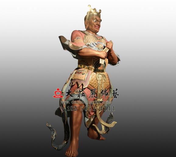 南方增长天王八大神将之薜荔多彩绘铜雕塑像