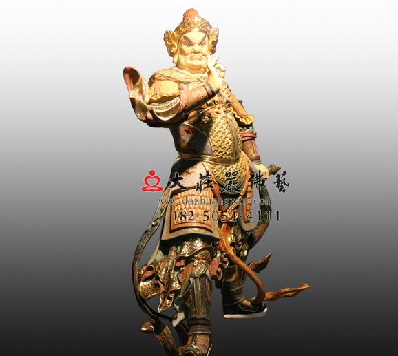 南方增长天王八大神将之鸠盘荼彩绘铜雕塑像