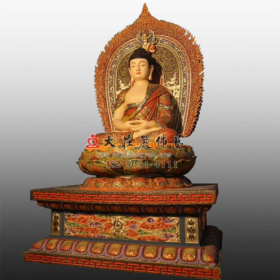 释迦牟尼佛侧面彩绘塑像