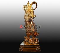 韦陀菩萨铜雕贴金佛像