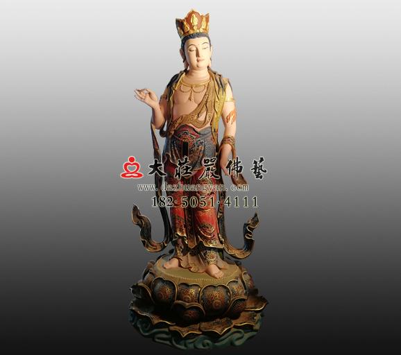 八大菩萨之普贤菩萨铜雕彩绘塑像