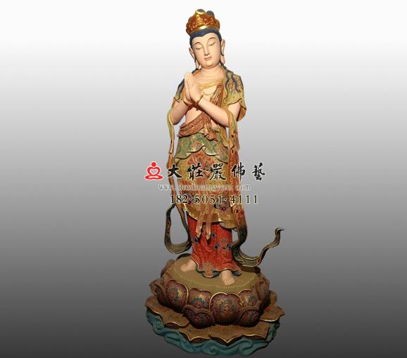 八大菩萨之观世音菩萨铜雕彩绘塑像