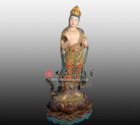 八大菩萨之金刚手菩萨铜雕彩绘塑像