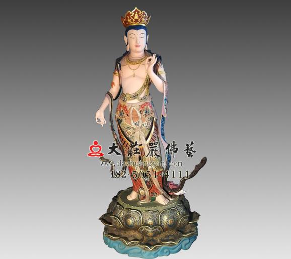 八大菩萨之弥勒菩萨铜雕彩绘佛像