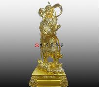 韦驮菩萨铜雕贴金佛像