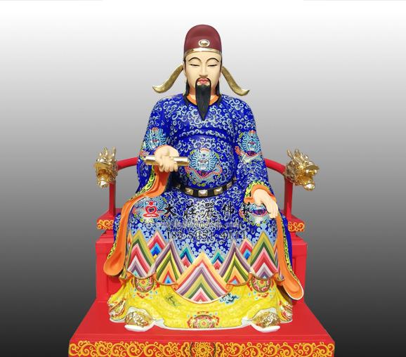 文昌帝君铜雕彩绘神像