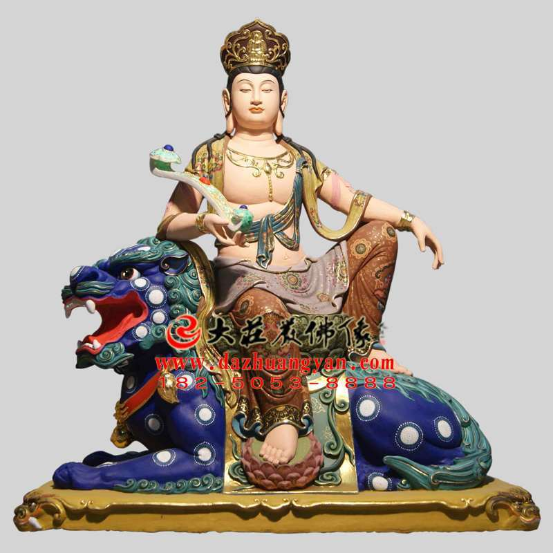 铜雕文殊菩萨彩绘描金塑像