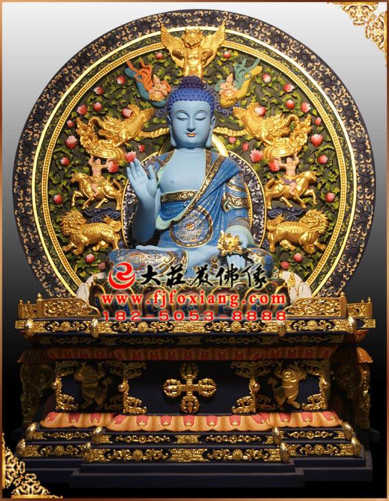 彩绘描金东方三圣塑像