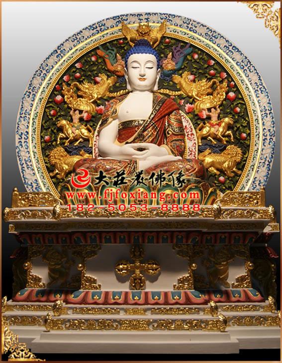 彩绘描金五方佛之毗卢遮那佛塑像