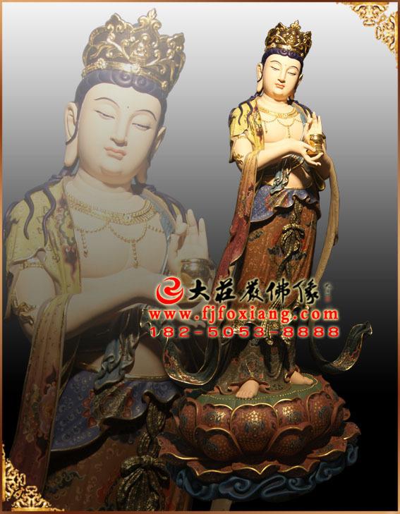 彩绘描金八大菩萨之地藏王菩萨塑像