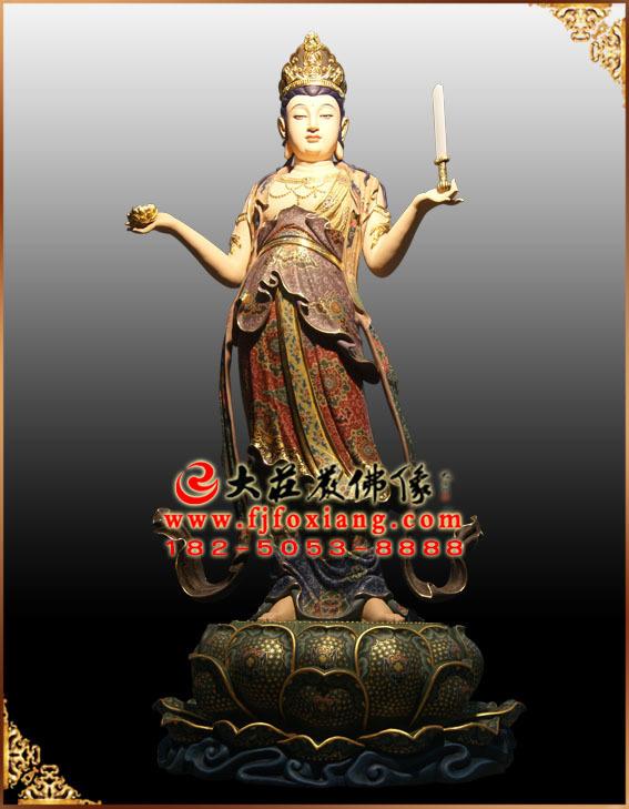 彩绘描金八大菩萨之文殊菩萨塑像