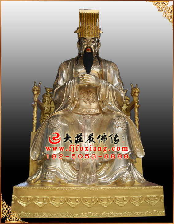 玉皇大帝鎏金制作过程铜雕塑像