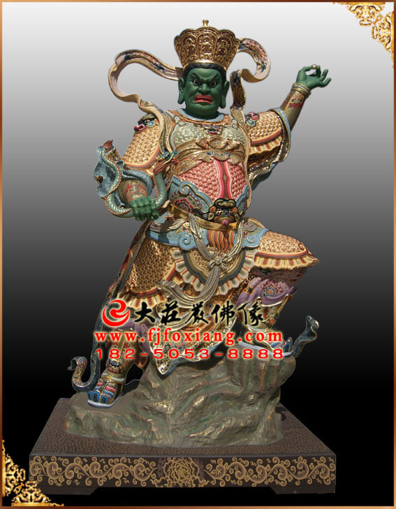 四大天王——西方广目天王彩绘塑像
