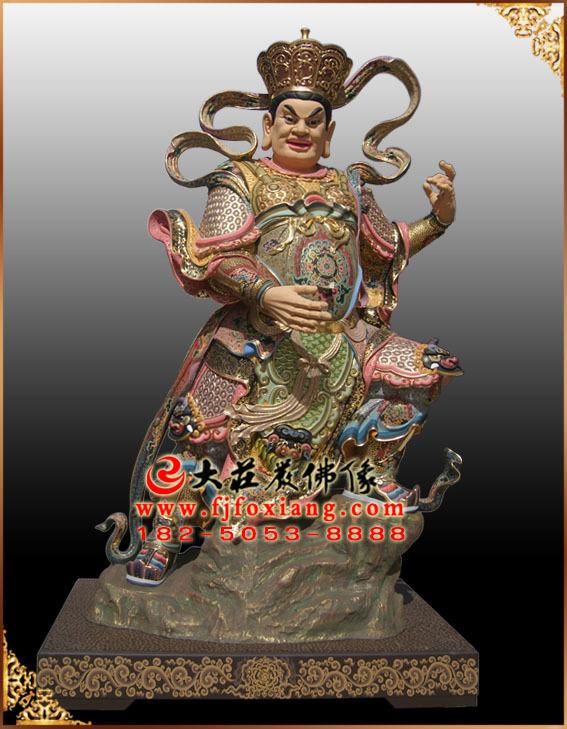 四大天王——东方持国天王彩绘塑像
