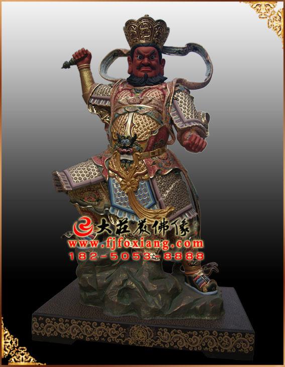 四大天王——南增长天王彩绘塑像