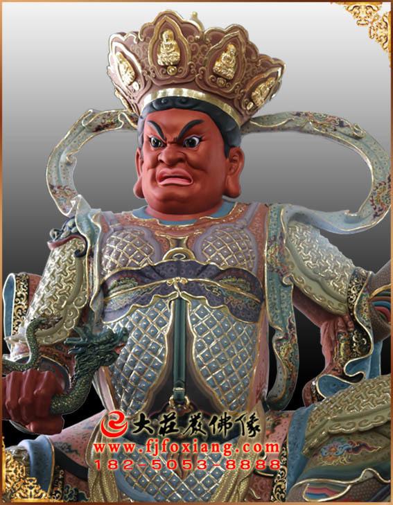 西方广目天王彩绘塑像