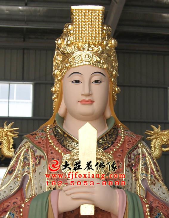 临水夫人铜雕彩绘塑像