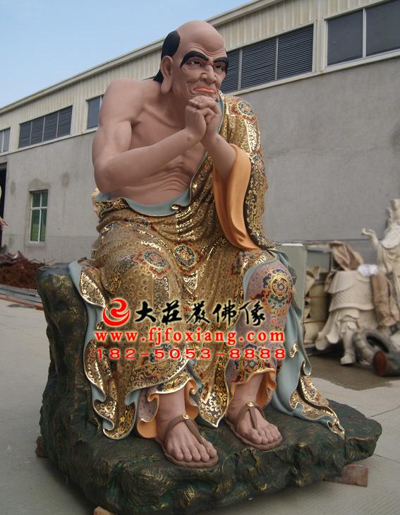 彩绘描金跋陀罗尊者塑像