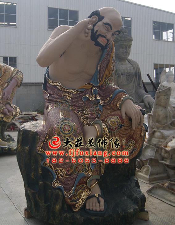 彩绘描金迦诺迦代蹉尊者塑像