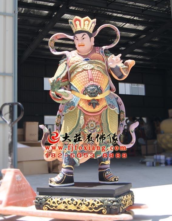 二十诸天之西广目天王彩绘塑像