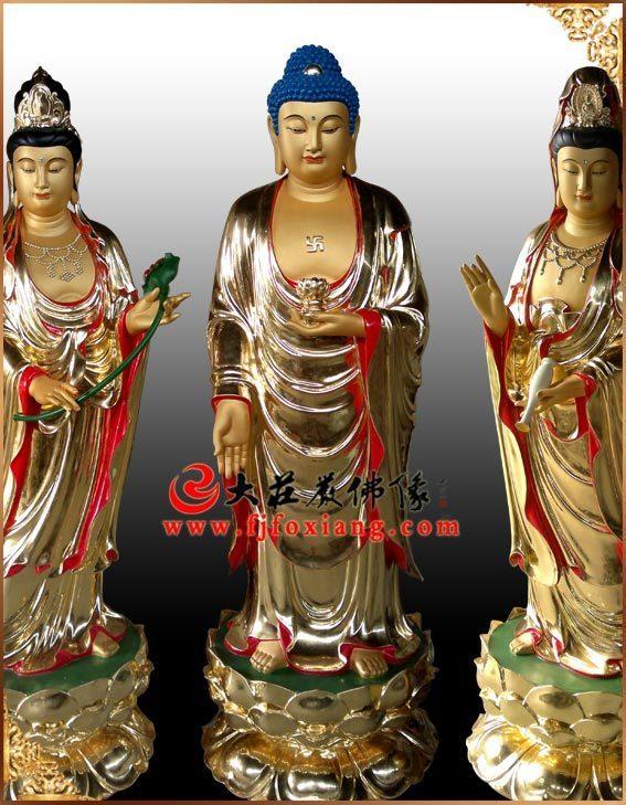 铜雕贴金西方三圣(铜雕2米站相西方三圣)