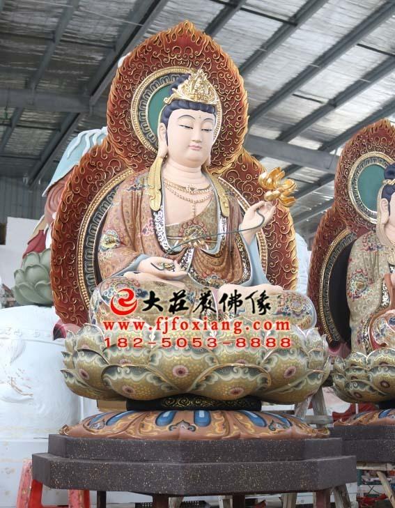 西方三圣之大势至菩萨彩绘塑像