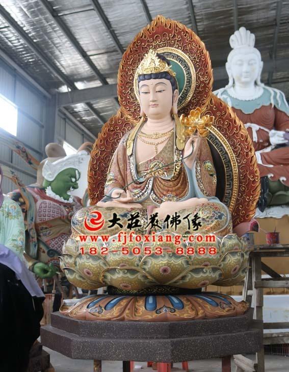 西方三圣之大势至菩萨坐莲塑像