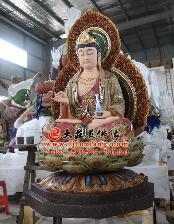 彩绘描金西方三圣之观音菩萨塑像