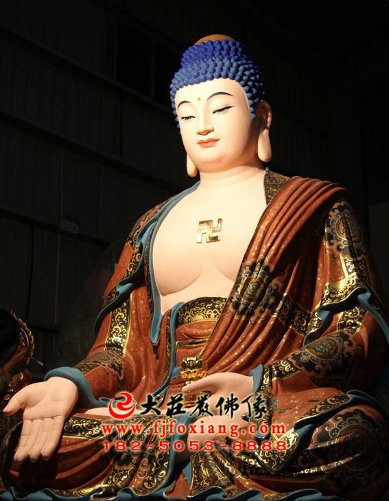 彩绘描金西方三圣之阿弥陀佛塑像侧面照