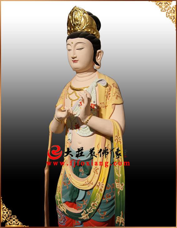 西方三圣之大势至菩萨(铜雕彩绘)
