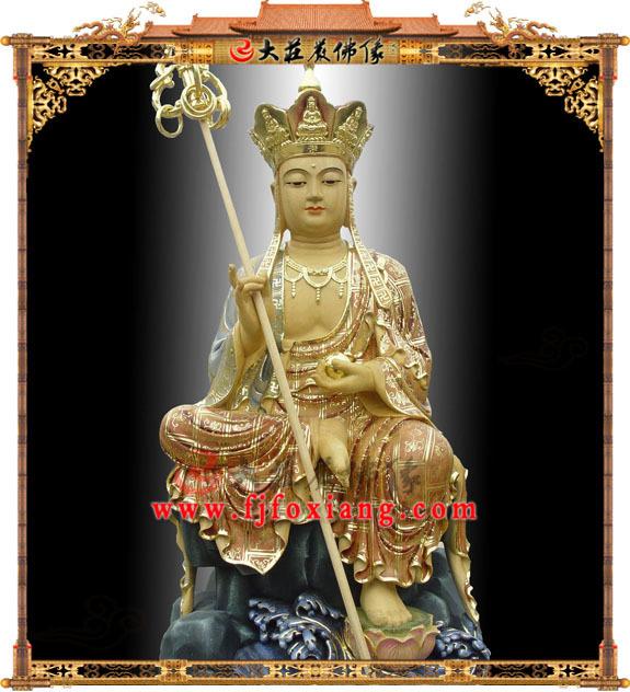 木雕淡彩地藏王菩萨