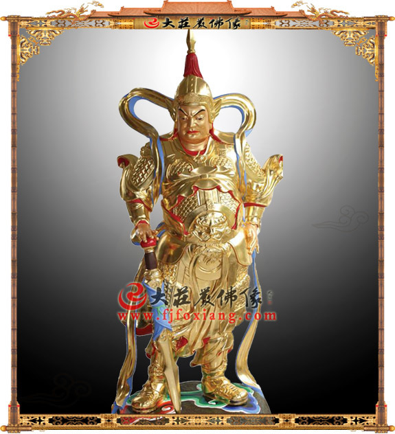 韦陀护法神铜雕贴金佛像