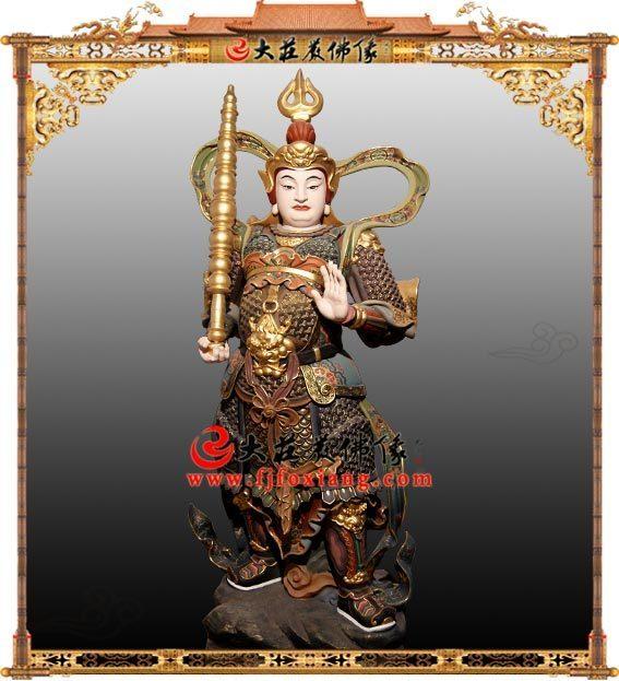 韦陀菩萨铜雕彩绘