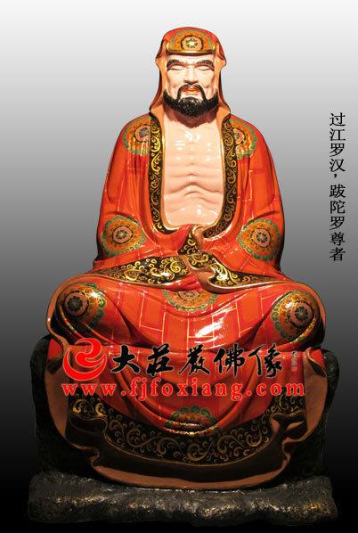 脱胎十八罗汉之过江罗汉彩绘塑像