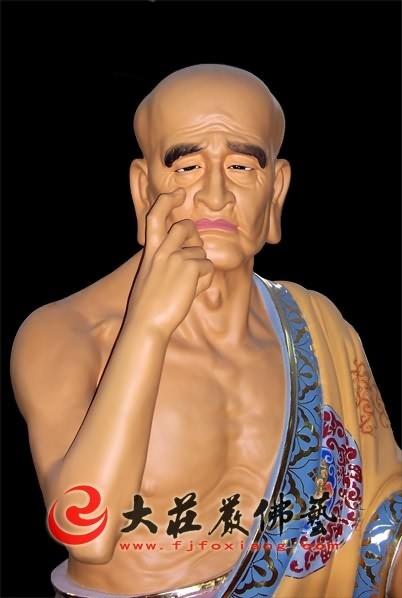 十八罗汉之十力迦叶彩绘塑像