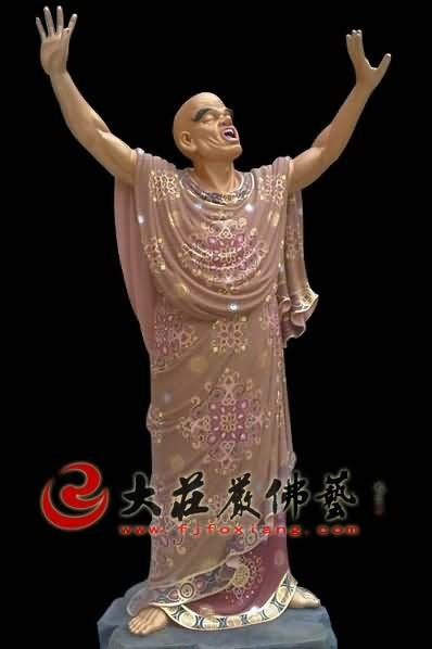 十八罗汉之探手罗汉彩绘塑像