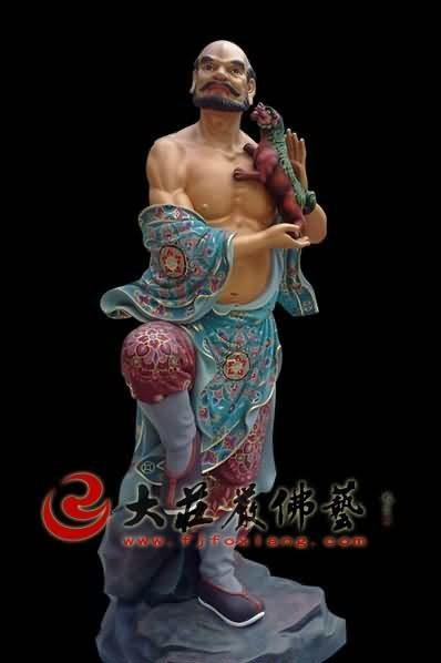 十八罗汉之笑狮罗汉彩绘塑像