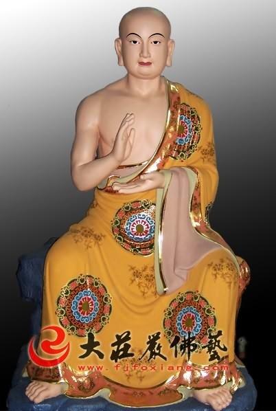 十八罗汉之罗侯罗尊者彩绘塑像