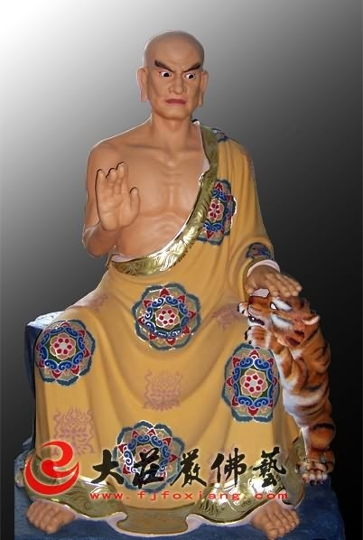 十八罗汉之舍利弗彩绘塑像