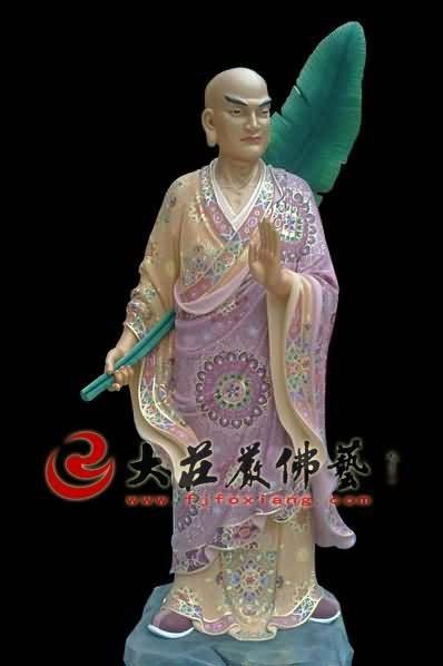 十八罗汉之芭蕉罗汉彩绘塑像