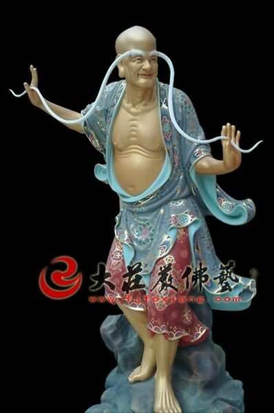 十八罗汉之长眉罗汉彩绘塑像