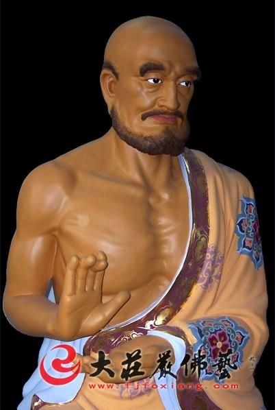 十八罗汉之须菩提尊者局部彩绘塑像