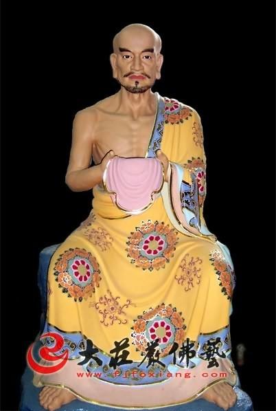十八罗汉之顿悟尊者彩绘塑像