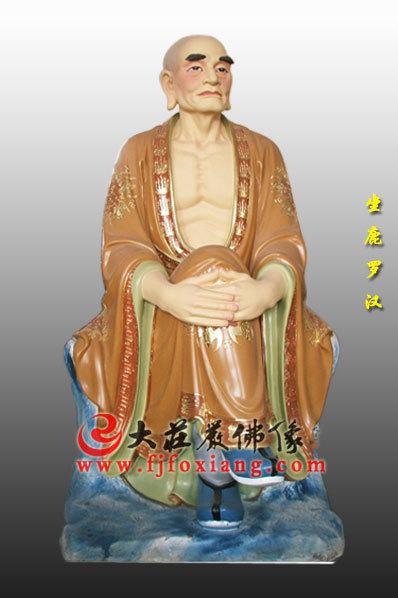 木雕彩绘十八罗汉之坐鹿罗汉