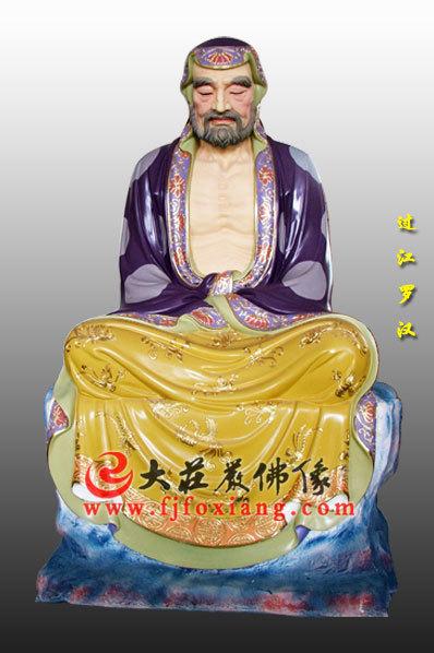 木雕彩绘十八罗汉之过江罗汉